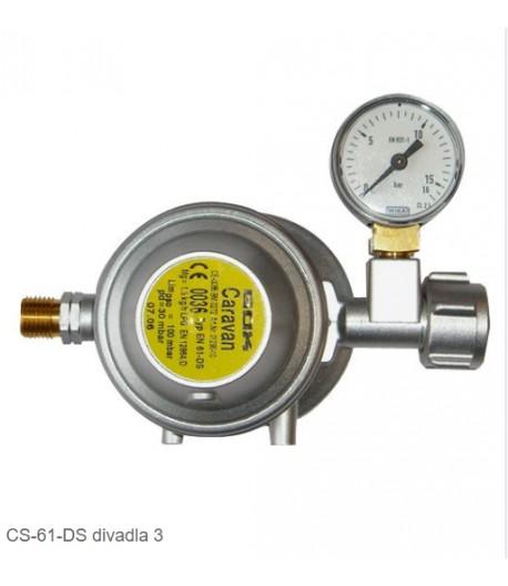 Regulátor GOK DIN pojistný s manometrem 30mbar 1,5Kg EN 61-DS