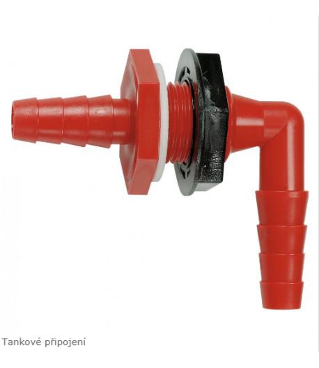 Průchodka nádrže 90 stupňů pro hadici 2 x 10 - 12 mm