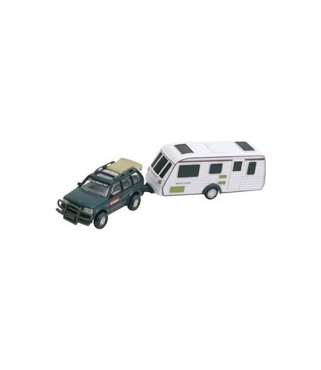 Model terénního auta s karavanem